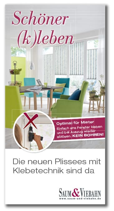 banner klebetechnik bei plissees ideenreich. Black Bedroom Furniture Sets. Home Design Ideas